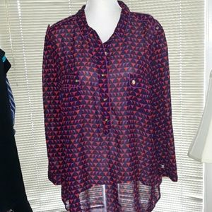 A.N.A. red, purple, and black blouse with buttons